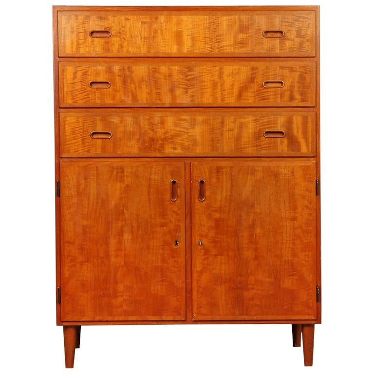 Red Birch Kitchen Cabinets: 1960s Danish Flamed Birch Bureau At 1stdibs