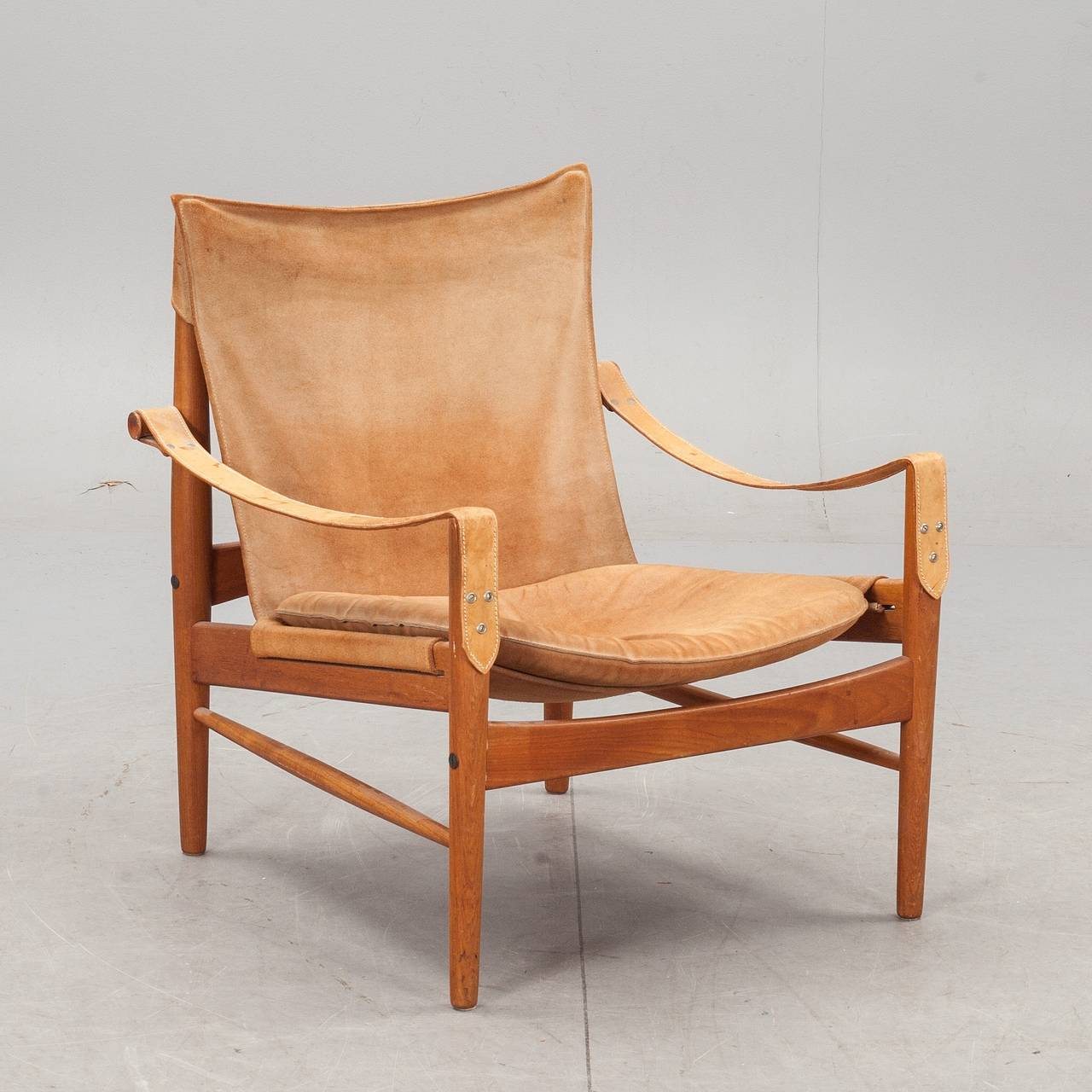 Lovely Hans Olsen, 1960s Suede And Leather Safari Chair 2