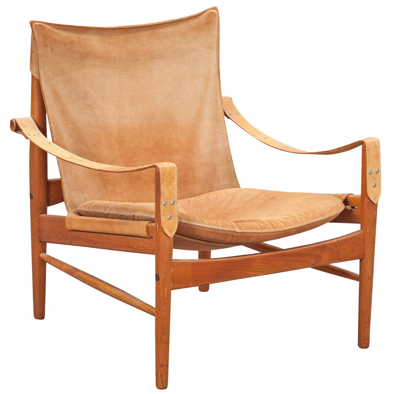 Charming Hans Olsen, 1960s Suede And Leather Safari Chair At 1stdibs