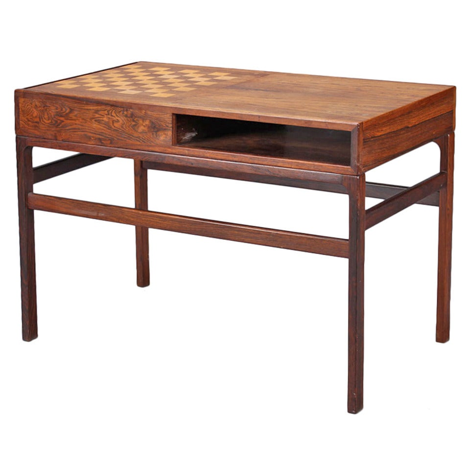 Kurt Ostervig 1970s Rosewood Game Table With Chess Board