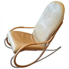 Nonna Rocking Chair by Paul Tuttle in Cream Leather