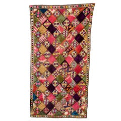 Hand Embroidered Silk Ikat Wall Hanging/Bedspread
