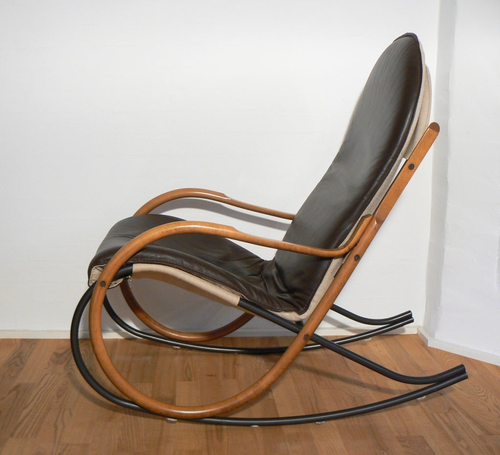 Paul tuttle nonna rocking chair brown leather at stdibs