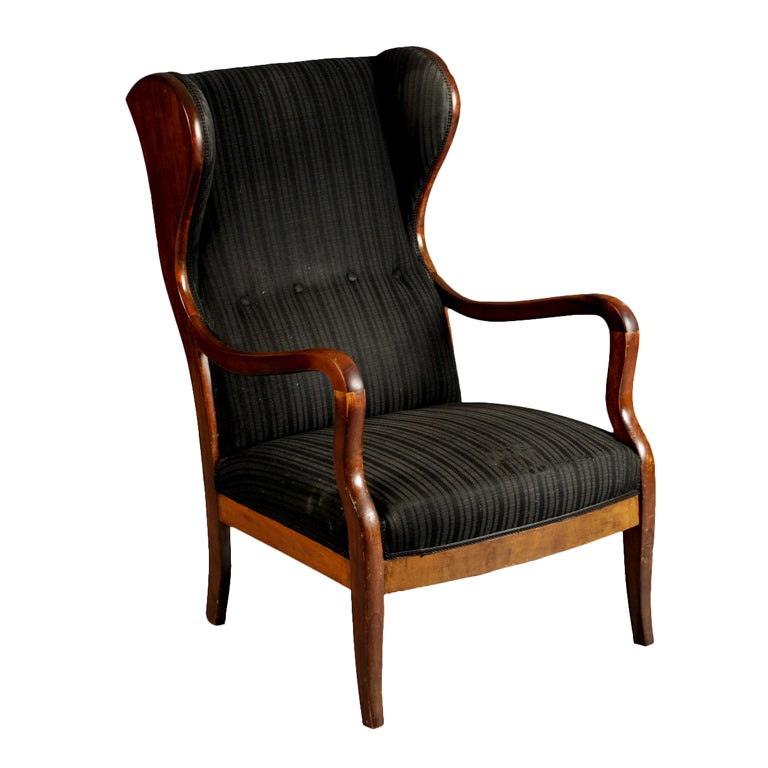 Frits henningsen high wing back arm chair at 1stdibs for Armchair with high back