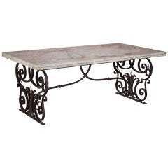 Antique French Beaux Artes Iron & Marble Table