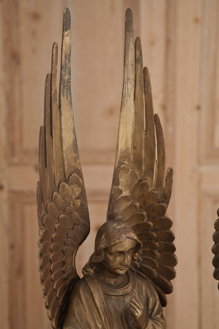 Vintage Brass Cherub Statue Angel Statue Victorian Decor