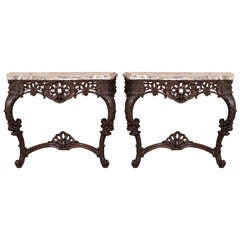 Pair Antique French Regence Marble Top Consoles