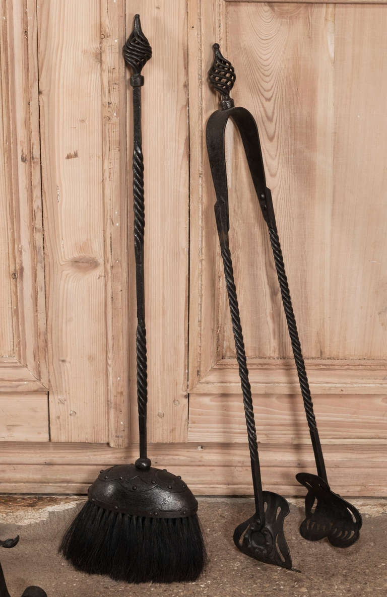 grand antique wrought iron fireplace tool set at 1stdibs