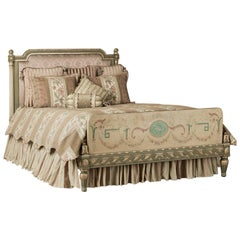 19th Century French Louis XVI Hand Painted Queen Bed by David Freres