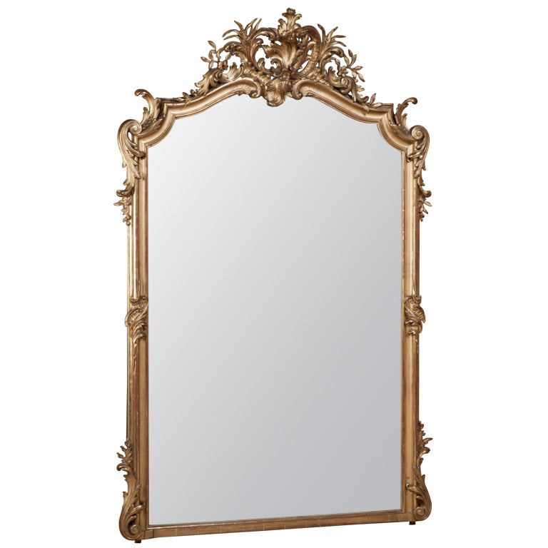 antique grand louis xv gilded mirror at 1stdibs. Black Bedroom Furniture Sets. Home Design Ideas
