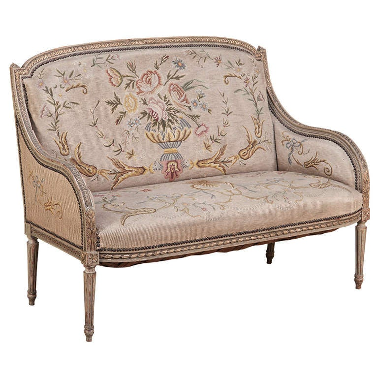 Antique Tapestry Sofa: Antique French Louis XVI Painted Tapestry Canape At 1stdibs