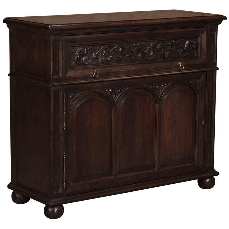 antique french gothic petit buffet at 1stdibs. Black Bedroom Furniture Sets. Home Design Ideas