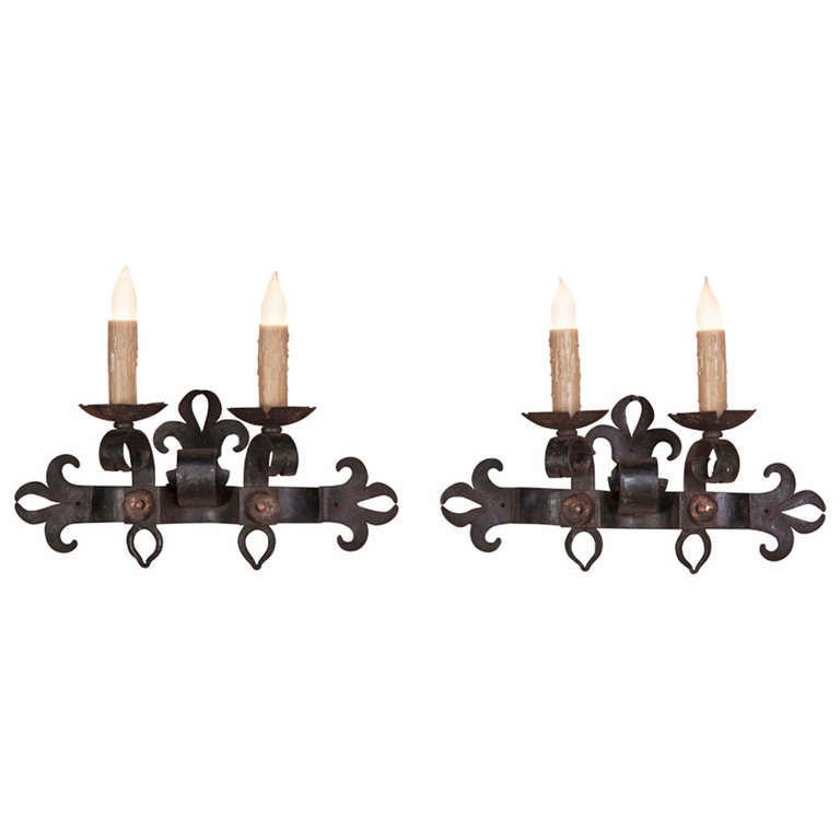 pair of country french wrought iron sconces for sale at