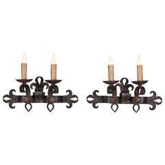 Pair of Country French Wrought Iron Hand Forged Sconces