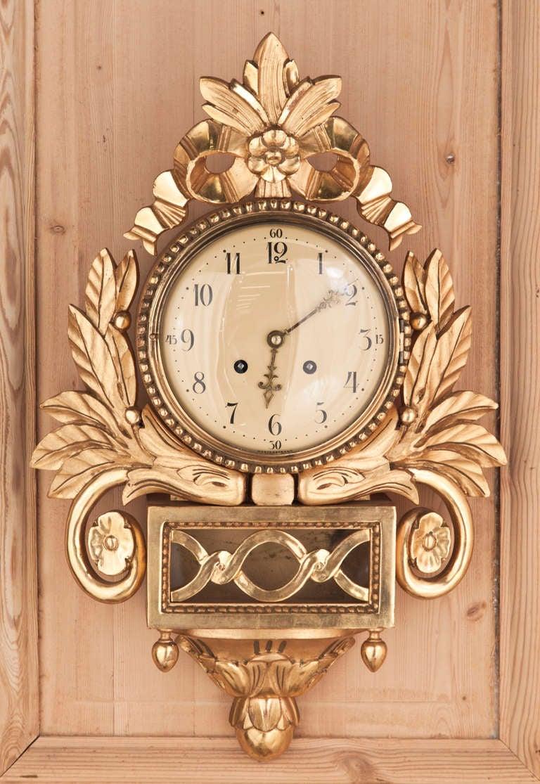 Antique Giltwood Swiss Wall Clock At 1stdibs