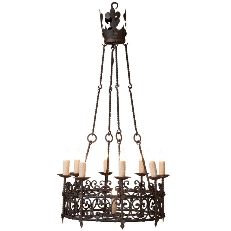 Vintage country french wrought iron chandelier at 1stdibs French country chandelier