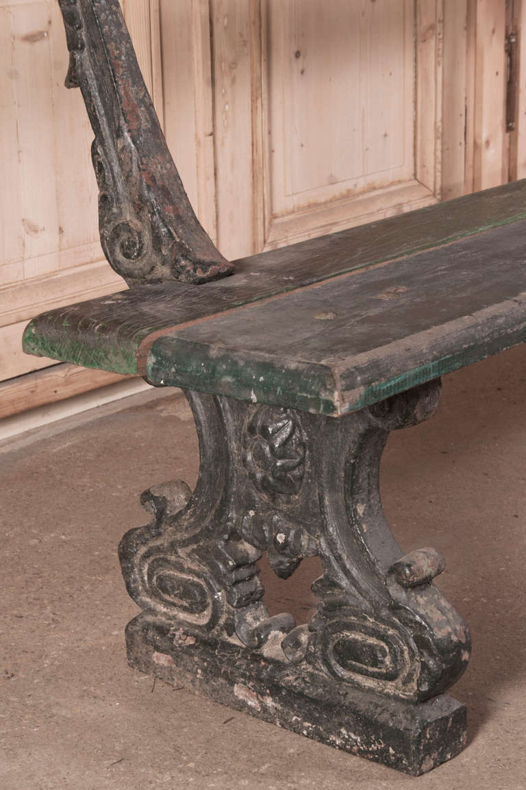 Antique Cast Iron And Plank Garden Bench At 1stdibs