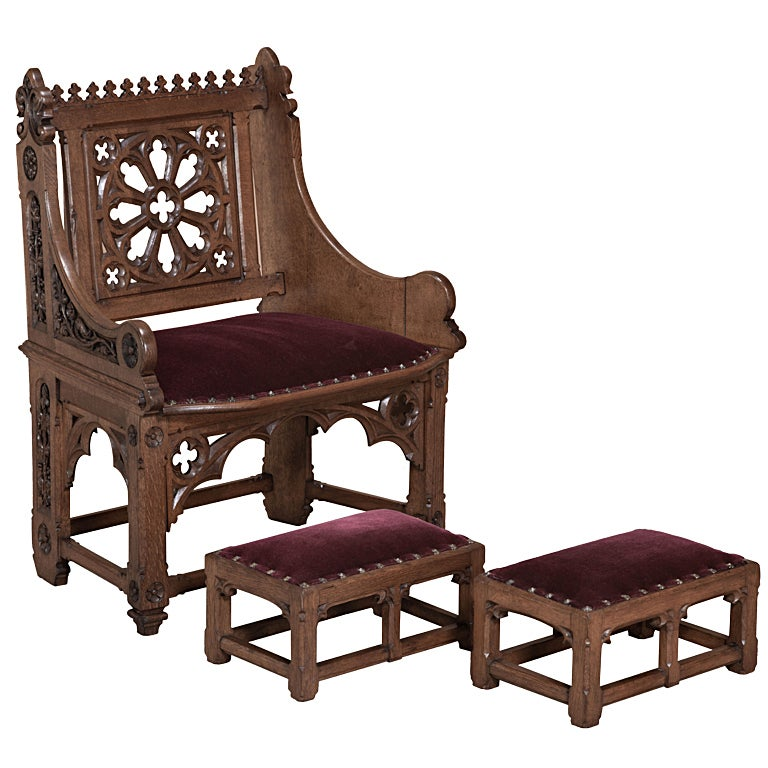 A Pair Of Period French Chairs With Missoni Fabric At 1stdibs: Antique French Gothic Petit Chair With Pair Of Footstools