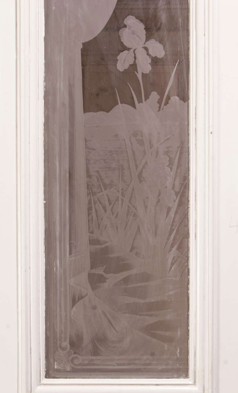 Set Of Four Antique Doors With Etched Glass At 1stdibs