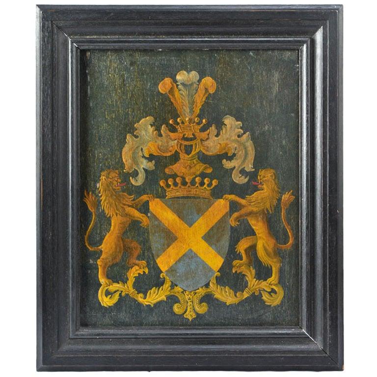 Antique Framed Family Crest At 1stdibs