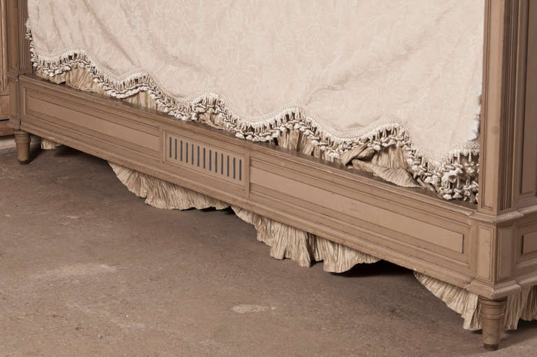 Antique French Louis XVI Painted Queen Bed 10