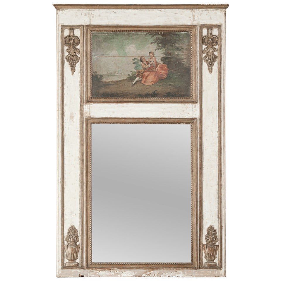 19th century french louis xvi white and gold painted for White and gold mirror