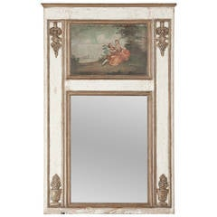 19th Century French Louis XVI White and Gold Painted Trumeau Mirror