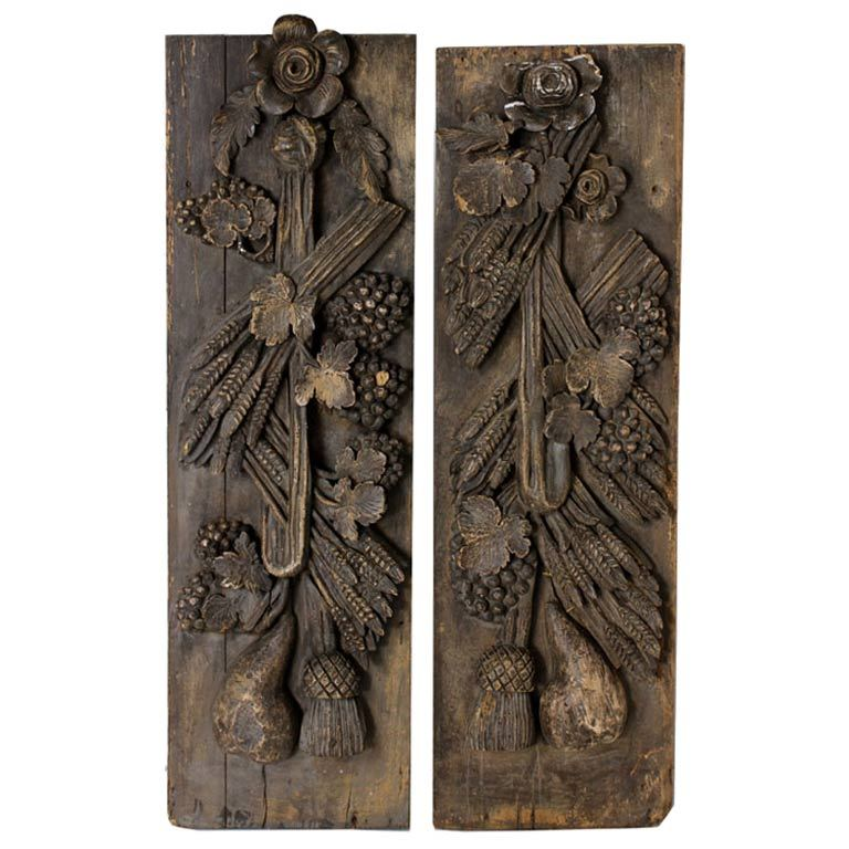 Pair Antique Carved Wood Wall Panels For