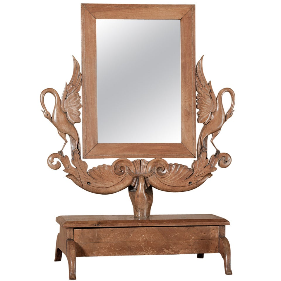 Antique handcrafted apple wood vanity mirror at 1stdibs for Wooden mirror