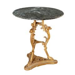 Antique Renaissance Cast Iron & Marble Table