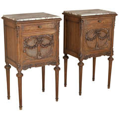Pair Antique French Louis XVI Nightstands