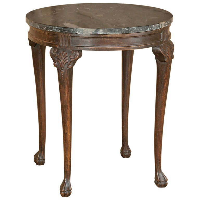 77% OFF - Antique Oval Marble Top Side Table / Tables  |Antique Marble Top End Tables