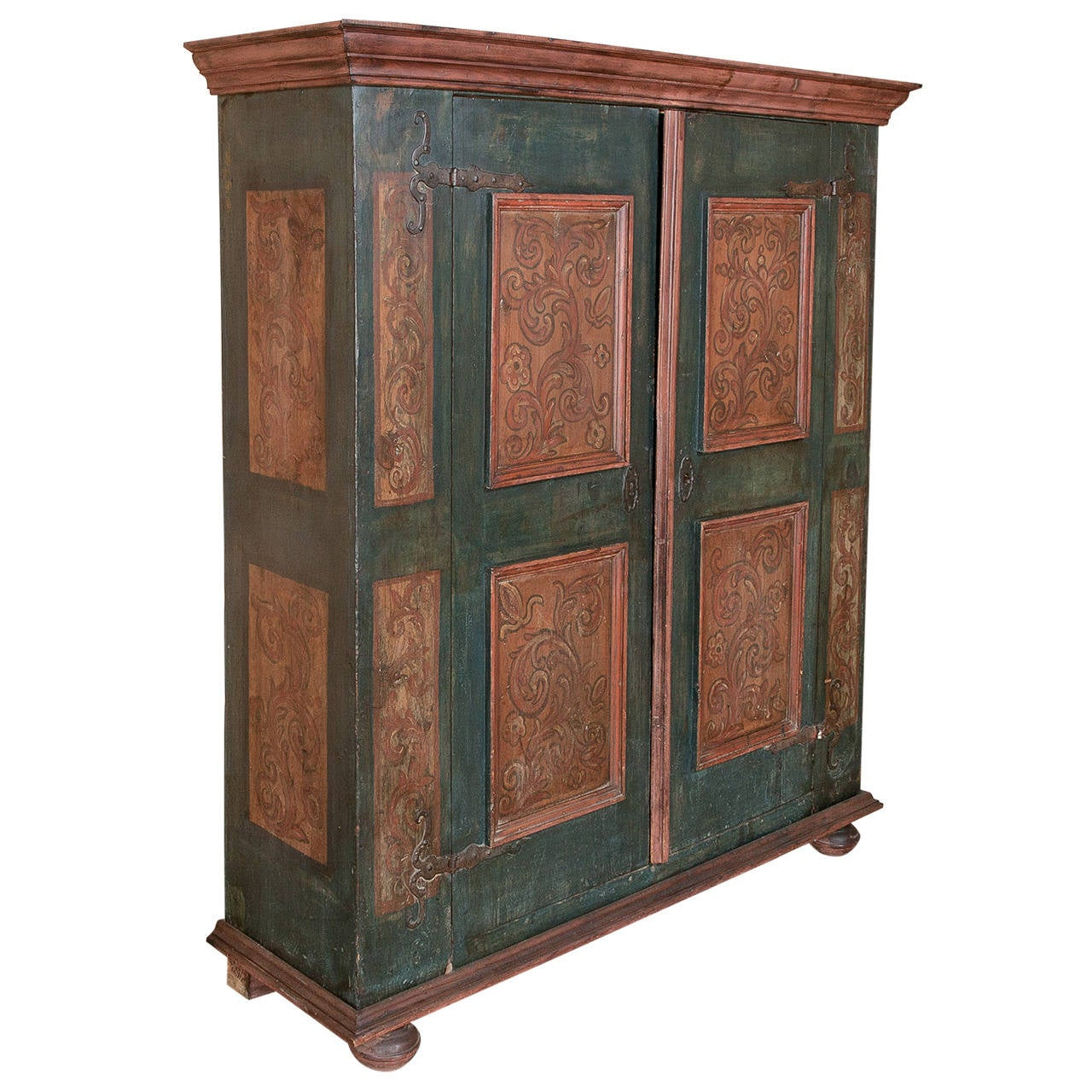 19th century rustic swiss painted armoire at 1stdibs. Black Bedroom Furniture Sets. Home Design Ideas
