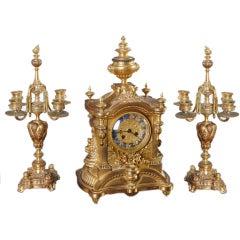 Antique Gothic Bronze Pendule Garniture