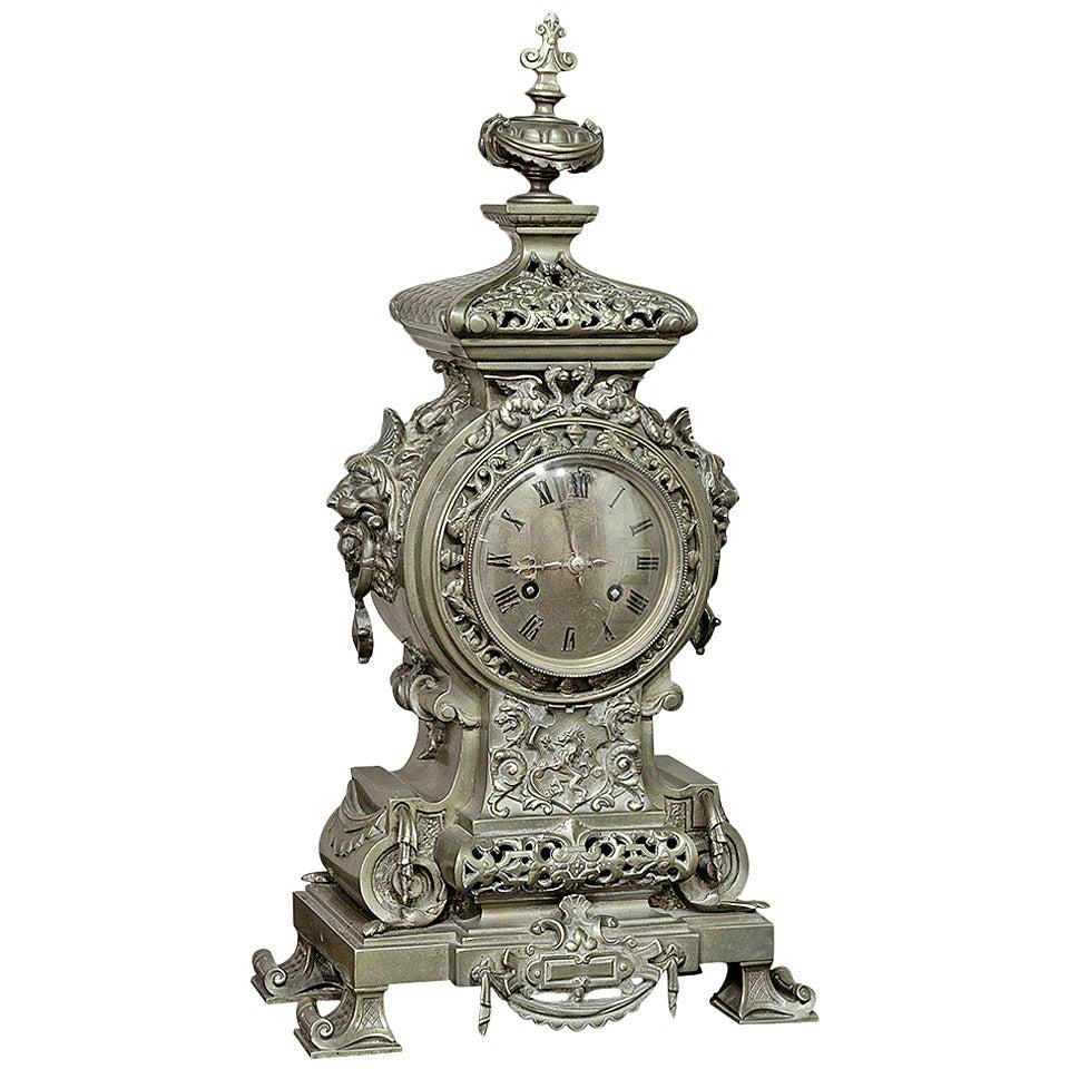 19th Century Antique Bronze Renaissance Mantel Clock