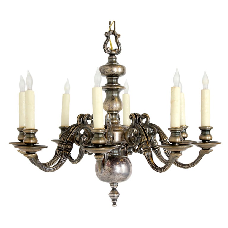 antique nickel washed bronze chandelier at 1stdibs 87980