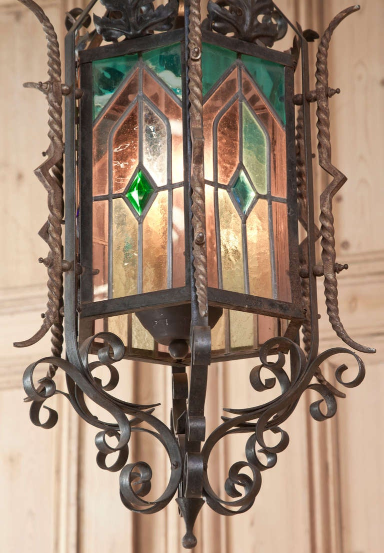 Antique Gothic Wrought Iron And Stained Glass Lantern At