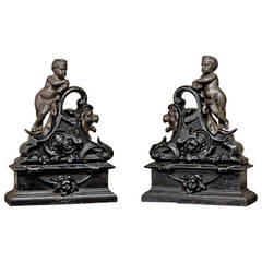 19th Century French Cast Iron Painted Andirons or Bookends