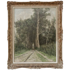 Antique Framed Pastoral Oil Painting on Canvas