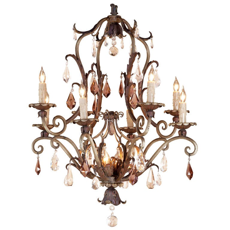 Vintage Painted Iron And Crystal Chandelier At 1stdibs