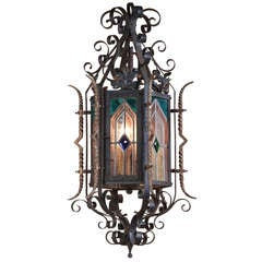 Antique Gothic Wrought Iron & Stained Glass Lantern