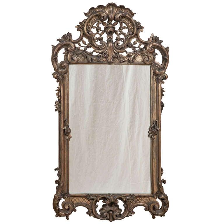 Antique italian baroque gilded mirror at 1stdibs for Italian baroque mirror