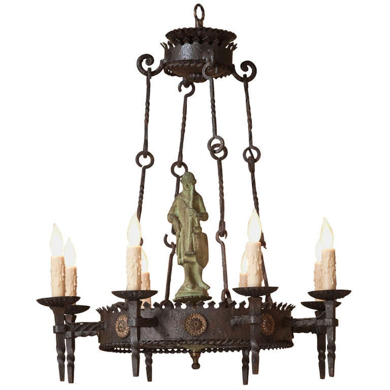 Antique Gothic Iron and Bronze Chandelier at 1stdibs