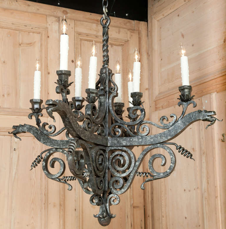 vintage french medieval wrought iron chandelier 2 - Wrought Iron Chandelier