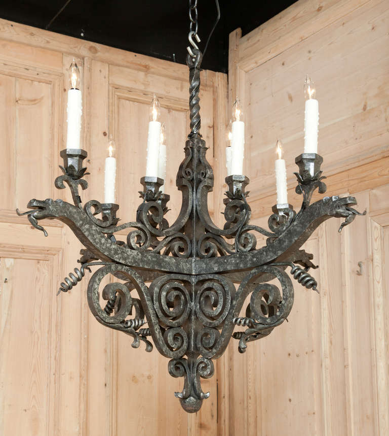 Vintage French Me val Wrought Iron Chandelier at 1stdibs
