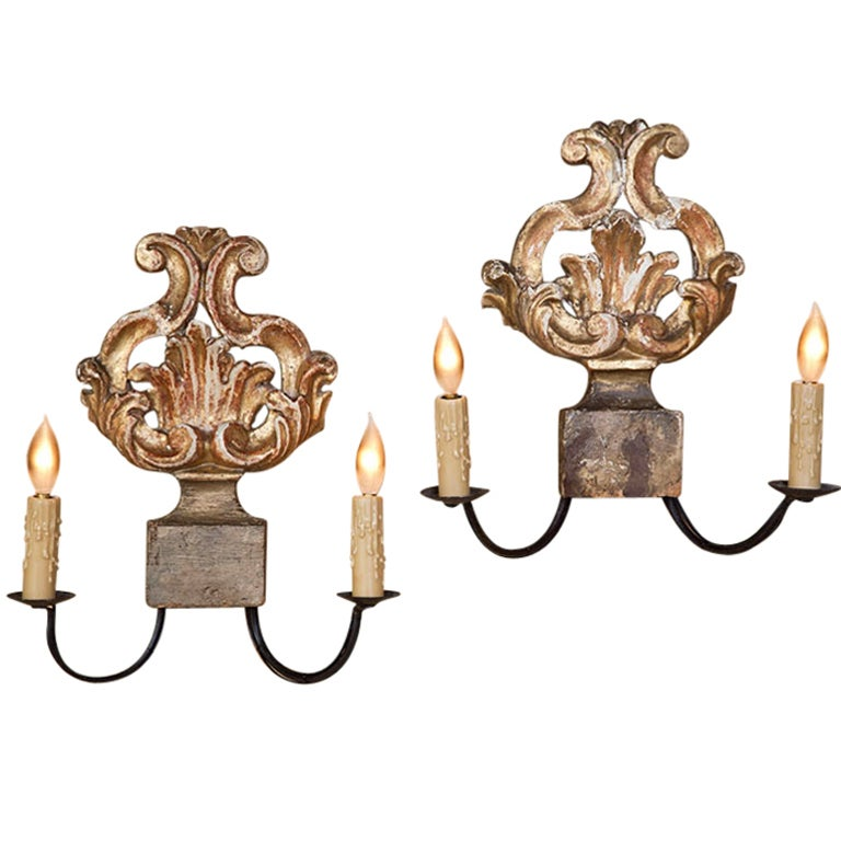 Antique Italian Wall Sconces : Pair Antique Italian Giltwood Sconces at 1stdibs
