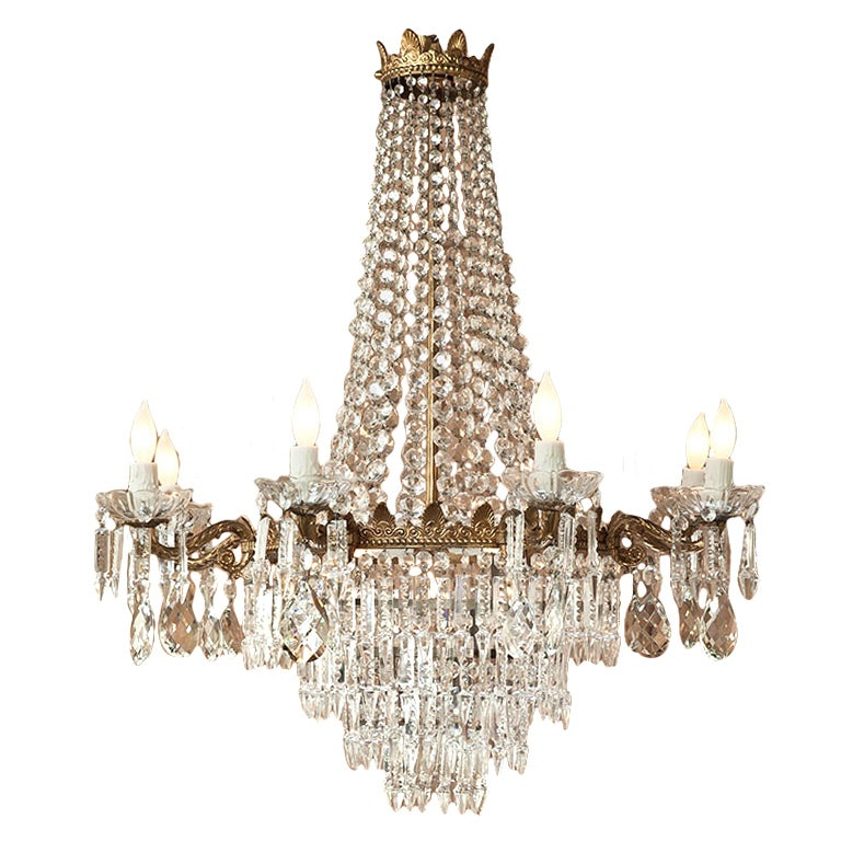 Antique Bronze & Crystal Chandelier For Sale