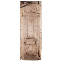Antique Architectural Louis XVI Door with Transom and Frame