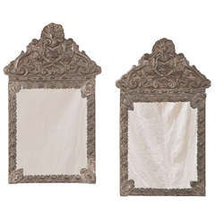 Pair Antique Embossed Brass Mirrors