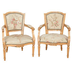 Pair of Louis XVI Style French Fruitwood Chairs/Armchairs with Aubusson Tapestry